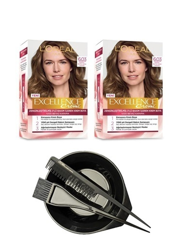 L'Oréal Loreal Excellence Saç Boyası 6.03 X2+Saç Boyama Seti Renksiz